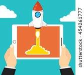 successful startup business... | Shutterstock .eps vector #454261777