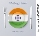 authentic cuisine of india.... | Shutterstock .eps vector #454272043