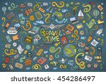 colorful vector hand drawn... | Shutterstock .eps vector #454286497