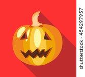 halloween pumpkin icon in flat... | Shutterstock .eps vector #454297957