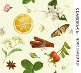 vector herbal seamless pattern... | Shutterstock .eps vector #454308913