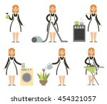 housewife set. cleaning cartoon ... | Shutterstock .eps vector #454321057