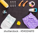 baby set of cloth diaper ... | Shutterstock . vector #454324693