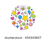 outline modern colorful... | Shutterstock .eps vector #454343857