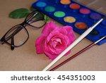 rose  watercolor  brushes  eye... | Shutterstock . vector #454351003