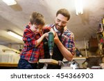 family  carpentry  woodwork and ... | Shutterstock . vector #454366903