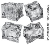 set of four ice cubes in gray... | Shutterstock . vector #454380823