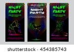 vector neon set of flyers for...