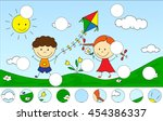 a boy and a girl playing in the ... | Shutterstock .eps vector #454386337