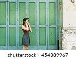 girl adventure hangout... | Shutterstock . vector #454389967
