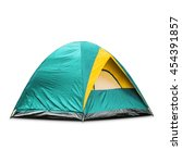 Small photo of Teal dome tent, isolated on white background with clipping path