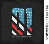 vintage american flag old... | Shutterstock .eps vector #454394533