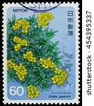 "Small photo of BANGKOK, THAILAND - JULY 18, 2016: A stamp printed in Japan shows draba japonica flowering plant, series ""Alpine Plant"", circa 1984."