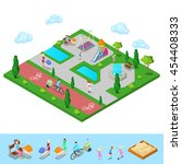 isometric children playground... | Shutterstock .eps vector #454408333
