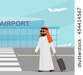 arabic man in traditional... | Shutterstock .eps vector #454414567
