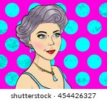 women comic books style on pink ... | Shutterstock .eps vector #454426327