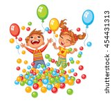 happy boy and girl playing with ... | Shutterstock .eps vector #454431313