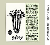 hand drawn ink celery label... | Shutterstock .eps vector #454434673