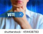 vote title button  vote concept.... | Shutterstock . vector #454438783