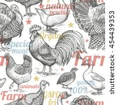 seamless pattern with poultry ... | Shutterstock .eps vector #454439353