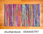 close up on hand woven rug with ... | Shutterstock . vector #454445797