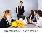 team of positive engineers... | Shutterstock . vector #454449157