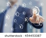 bitcoin button on virtual... | Shutterstock . vector #454453387