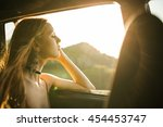 woman with head out of the... | Shutterstock . vector #454453747