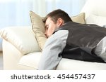 tired businessman sleeping...   Shutterstock . vector #454457437