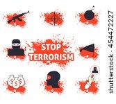 stop terrorism vector icons   Shutterstock .eps vector #454472227