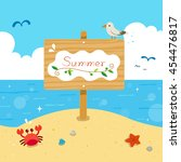 summer wooden sign with sea... | Shutterstock .eps vector #454476817