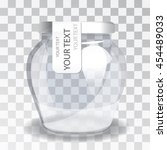 empty glass jar with a label on ... | Shutterstock .eps vector #454489033