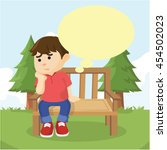 boy sitting on bench thinking | Shutterstock .eps vector #454502023
