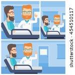 hipster doctor visiting male... | Shutterstock .eps vector #454510117