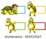 lable design with green turtles ... | Shutterstock .eps vector #454519267