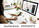 female online shopping home... | Shutterstock . vector #454534573