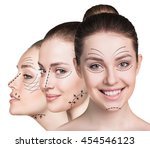beautiful faces of young woman | Shutterstock . vector #454546123