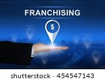 franchising button with... | Shutterstock . vector #454547143