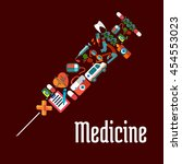 healthcare or medicine icons in ... | Shutterstock .eps vector #454553023