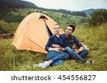 a couple of tourists in time of ... | Shutterstock . vector #454556827