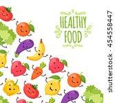 healthy food cartoon... | Shutterstock .eps vector #454558447