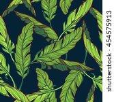 banana leaves on dark blue...   Shutterstock .eps vector #454575913