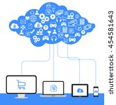cloud computing  technology... | Shutterstock . vector #454581643