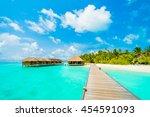 beautiful tropical beach and...   Shutterstock . vector #454591093