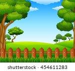 summer sunny meadow landscape | Shutterstock .eps vector #454611283