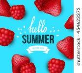 summer colorful poster. vector... | Shutterstock .eps vector #454623373