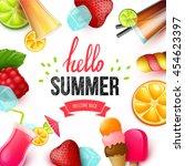 summer colorful poster. vector...   Shutterstock .eps vector #454623397