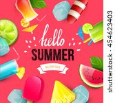 summer colorful poster. vector... | Shutterstock .eps vector #454623403