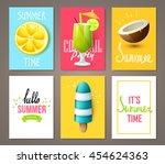 set of summer brochures with... | Shutterstock .eps vector #454624363