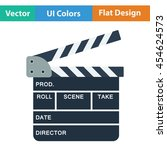 clapperboard icon. flat color...